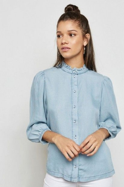 Blusa Mulher LUELLA 3/4 Tencel Jeans ONLY
