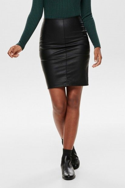 Saia Mulher CELINA FAUX LEATHER Mide ONLY